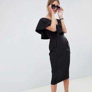 ASOS NWT ruffle wrap midi dress black size 8